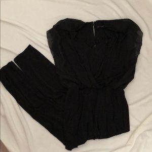 Black Blouson Jumpsuit with Pockets